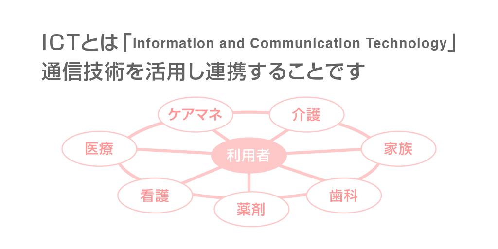 ICTとは「Information and Communication Technology」 通信技術を活用し連携することです